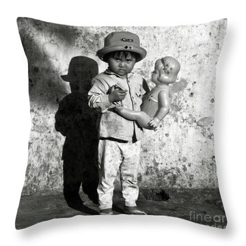 Little Vietnamese Girl Playing With Her Doll Throw Pillow