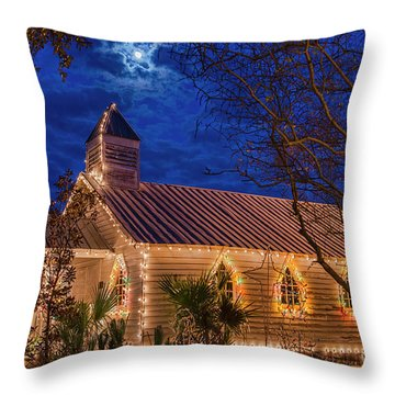 Throw Pillow featuring the photograph Little Village Church With Star From Heaven Above The Steeple by Bonnie Barry
