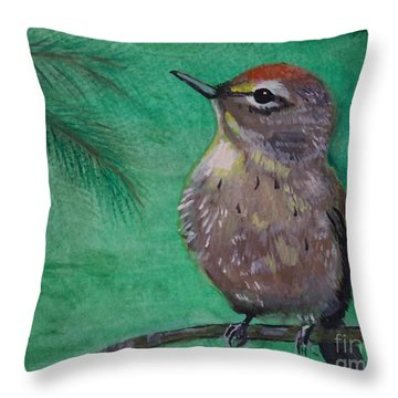 Throw Pillow featuring the painting Little Warbler by Leslie Allen