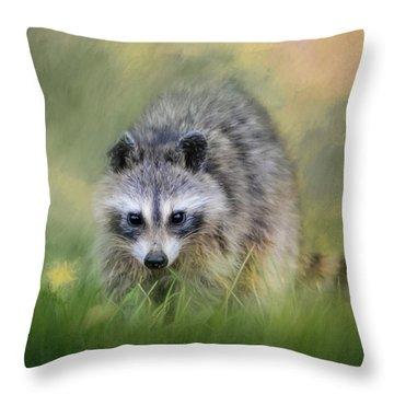 Little Wash Bear Raccoon Art Throw Pillow by Jai Johnson
