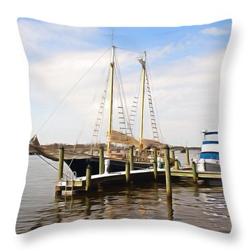 Little Washington Docks Throw Pillow by Marion Johnson
