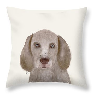 Throw Pillow featuring the painting little Weimaraner by Bri B