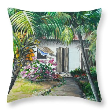 Little West Indian House 2...sold Throw Pillow by Karin  Dawn Kelshall- Best