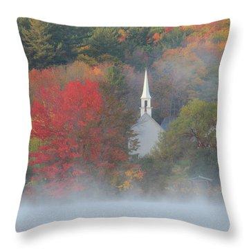 Little White Church Autumn Fog Throw Pillow by John Burk
