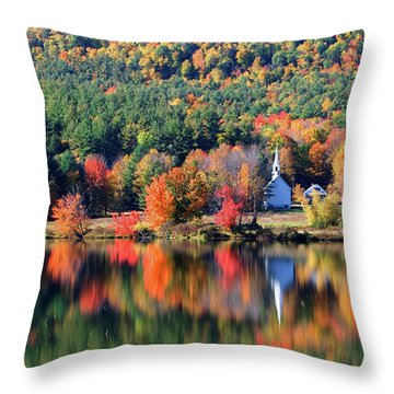 Throw Pillow featuring the photograph 'little White Church', Eaton, Nh	 by Larry Landolfi