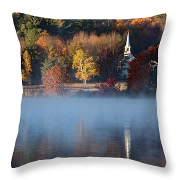 Throw Pillow featuring the photograph Little White Church On Crystal Lake by Jeff Folger