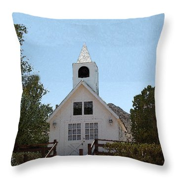 Little White Church Throw Pillow by Walter Chamberlain