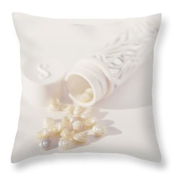Throw Pillow featuring the photograph Little White Seashells by Cindy Garber Iverson