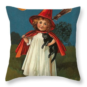 Little Witch Girl At Halloween Night Throw Pillow