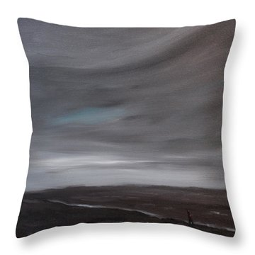 Throw Pillow featuring the painting Little Woman In Large Landscape by Tone Aanderaa