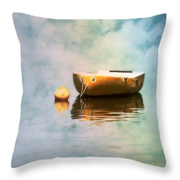 Little Yellow Boat Throw Pillow