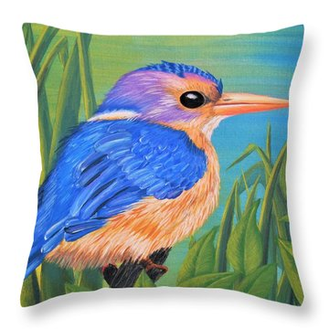 Throw Pillow featuring the painting Litttle King Of The Fishers by Sophia Schmierer