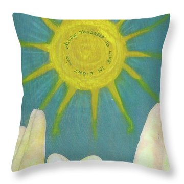 Throw Pillow featuring the mixed media Live In Light by Desiree Paquette