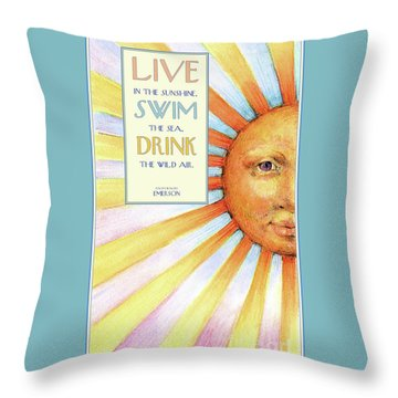 Throw Pillow featuring the painting Live In The Sunshine by Lora Serra