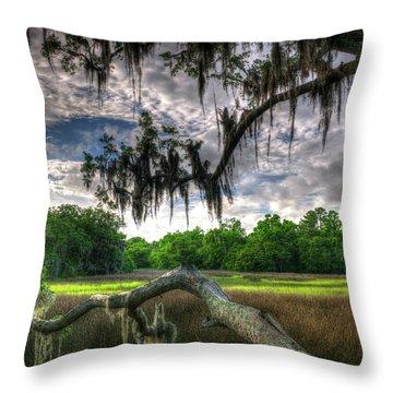 Live Oak Marsh View Throw Pillow