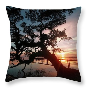 Throw Pillow featuring the photograph Live Oak Sunrise by Benanne Stiens