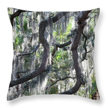 Live Oak With Spanish Moss And Palms Throw Pillow by Carol Groenen