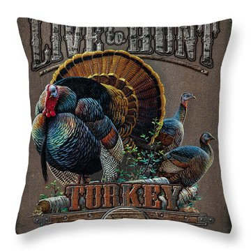 Live To Hunt Turkey Throw Pillow