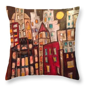 Lively City Skyline Throw Pillow