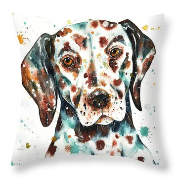 Throw Pillow featuring the painting Liver-spotted Dalmatian by Zaira Dzhaubaeva