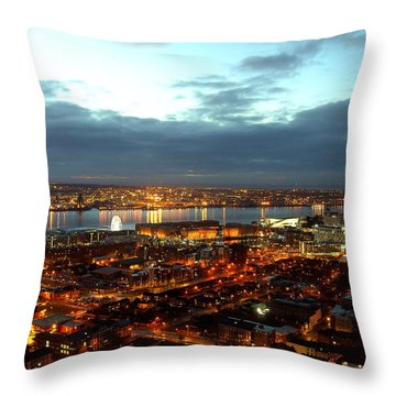 Liverpool City And River Mersey Throw Pillow