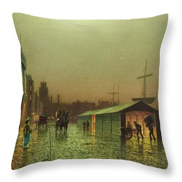 Liverpool Docks Throw Pillow by John Atkinson Grimshaw