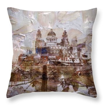 Throw Pillow featuring the painting Liverpool by Mark Taylor