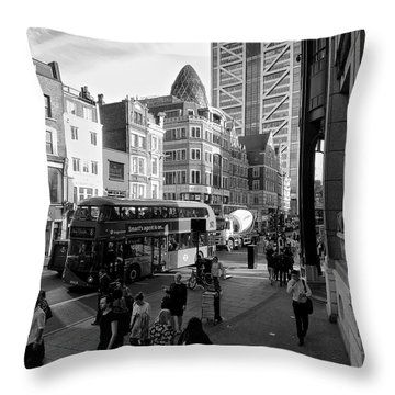 Liverpool Street  Throw Pillow by Gary Bridger