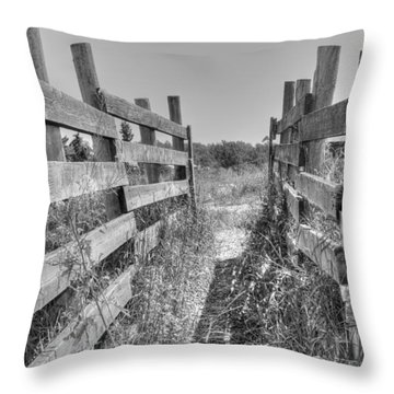 Throw Pillow featuring the photograph Livestock Chute by Jim Sauchyn