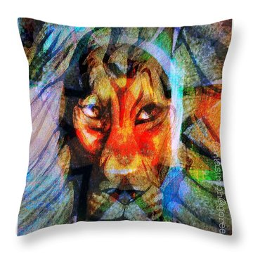 Living Among Lions Throw Pillow by Fania Simon