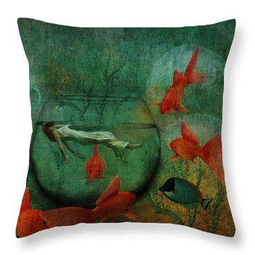 Living In A Fishbowl Throw Pillow