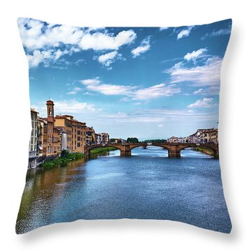 Buildings Next To The Arno River And Ponte Santa Trinita In Florence, Italy Throw Pillow