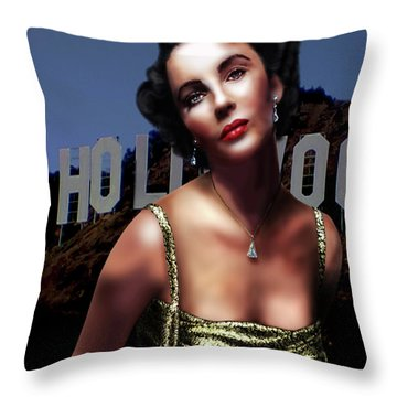 Liz Taylor Throw Pillow by Virginia Palomeque