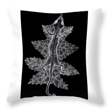 Lizard And Leaf Throw Pillow by Nick Gustafson