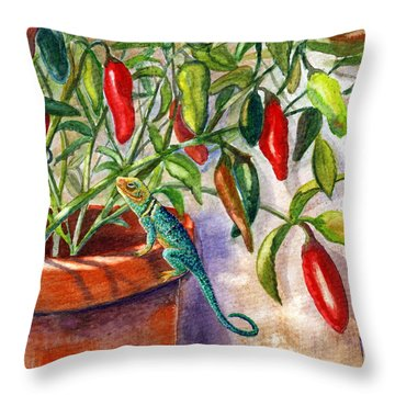 Throw Pillow featuring the painting Lizard In Hot Sauce by Marilyn Smith