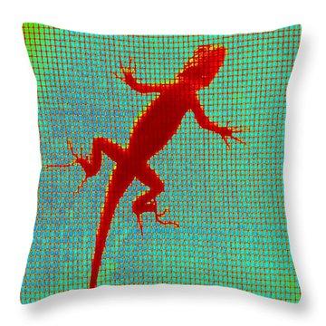 Lizard On The Screen Throw Pillow