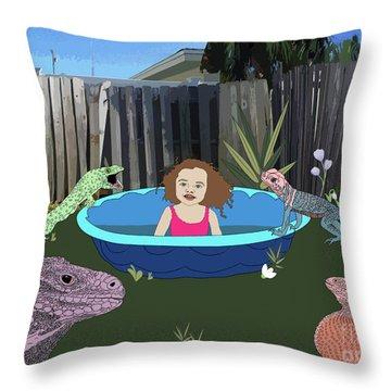 Throw Pillow featuring the digital art Lizard People by Megan Dirsa-DuBois