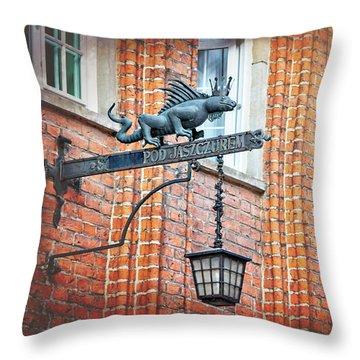 Lizard Street Lamp In Gdansk Poland  Throw Pillow