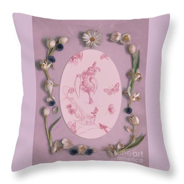 Throw Pillow featuring the mixed media Lizette Of Whispering Daydreams With White Tulips by Nancy Lee Moran