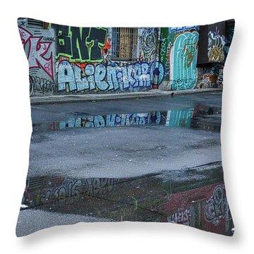 Throw Pillow featuring the photograph Ljubljana Graffiti Reflections #2 - Slovenia by Stuart Litoff