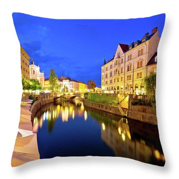 Ljubljanica River Waterfront In Ljubljana Evening View Throw Pillow by Brch Photography