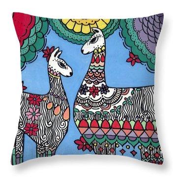 Llama Mama Throw Pillow
