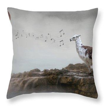 Llama Singing To The Moon Throw Pillow