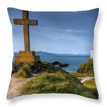 Llanddwyn Cross Throw Pillow