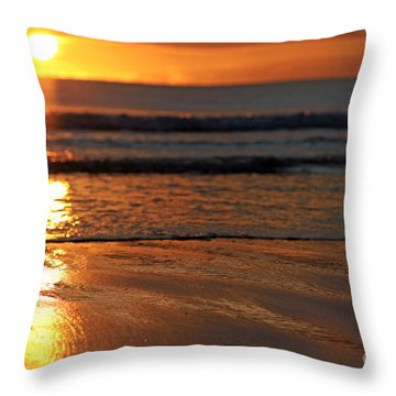 Llangennith Beach Sand Textures Throw Pillow