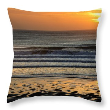 Llangennith Gold Reflections Throw Pillow
