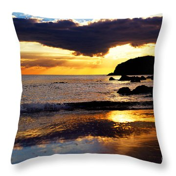 Llangennith Gower Coast Throw Pillow