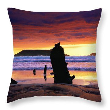 Llangennith Helvetia Wreck Throw Pillow