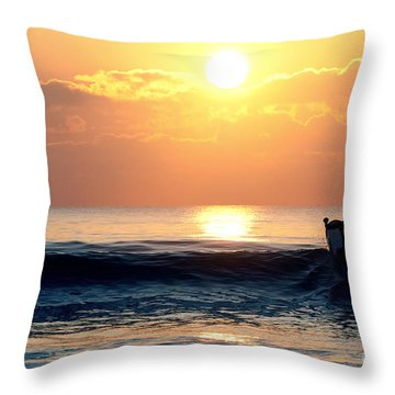 Llangennith Last Wave Throw Pillow