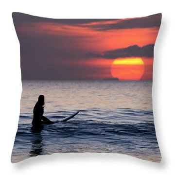 Llangennith One More Wave Throw Pillow